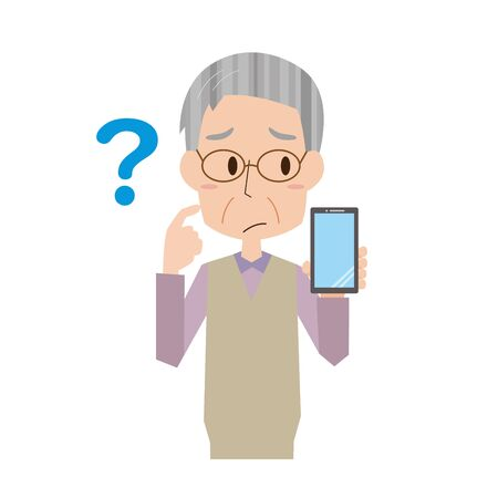 Illustration of an elderly man who does not know how to use a smartphone Vectores
