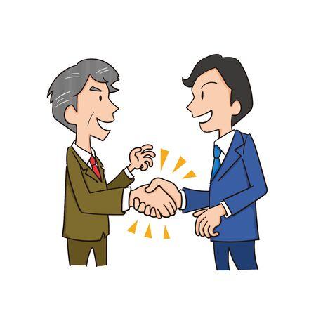 Illustration of male office workers shaking hands Ilustração Vetorial
