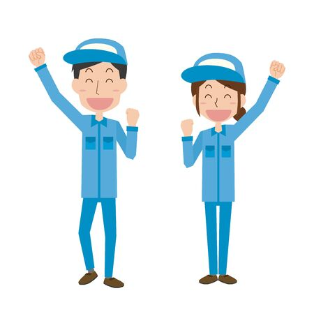 Illustration of men and women wearing work clothes that raise their hands and rejoice