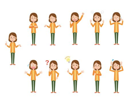 Illustration of various female poses and facial expressions Vectores