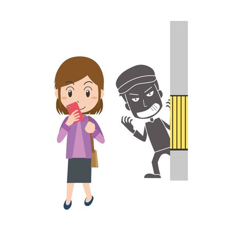 Illustration of a criminal aiming for a woman 矢量图像