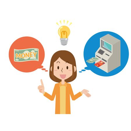 Illustration of a woman withdrawing money  イラスト・ベクター素材
