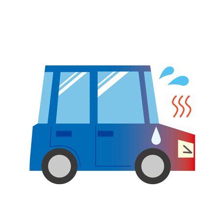 Illustration of a car to overheat Illustration