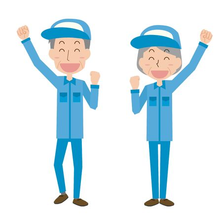 Illustration of elderly men and women who are happy to raise their hands