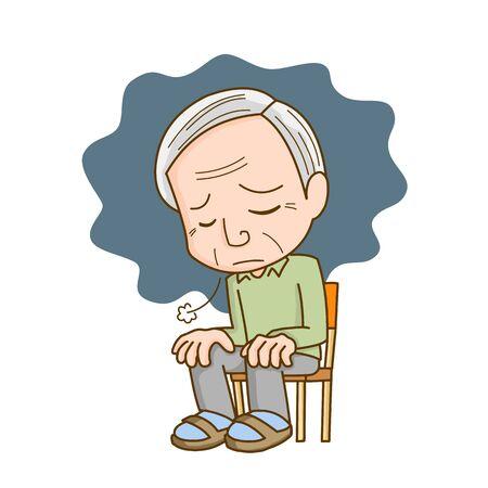 Illustration of a depressed elderly man