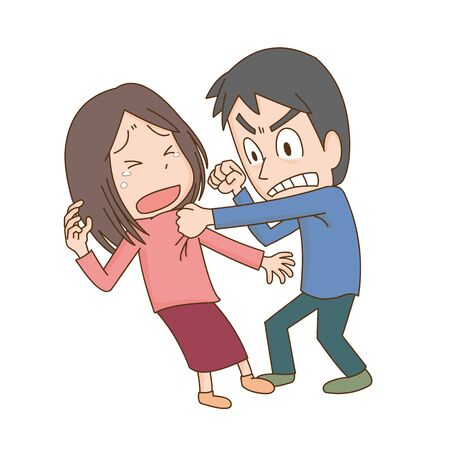 Illustration of a man who violence against a woman