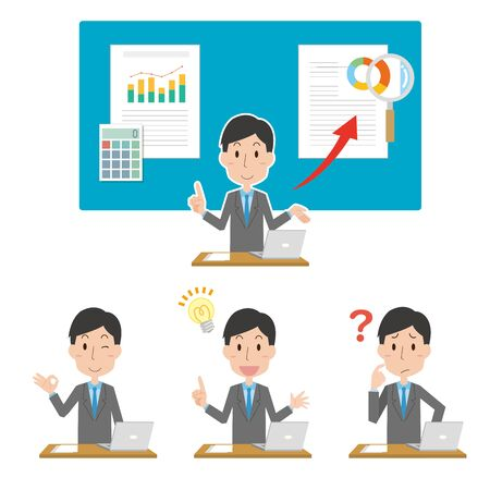 Illustration of a male company employee to explain