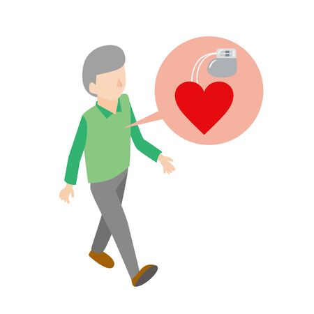 Illustration of an elderly man using a pacemaker