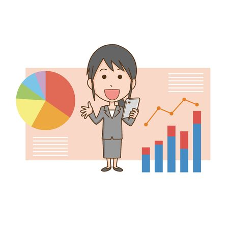 Illustration of a woman explaining the data  イラスト・ベクター素材