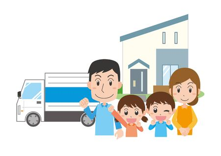 Illustrations of families moving