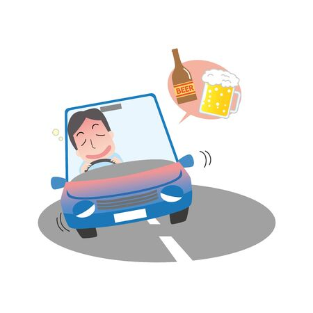 Illustration of a man driving drunk drunk with a drunken ness