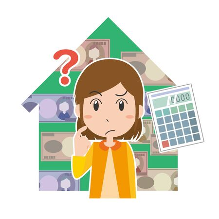 Illustration of a woman thinking about money about the house Ilustrace