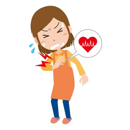 Illustration of a woman suffering from heart pain