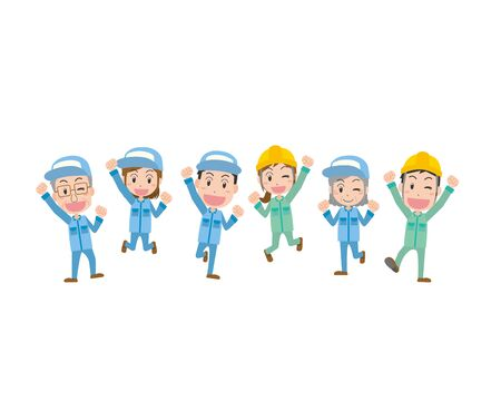 Illustration slinked by factory workers