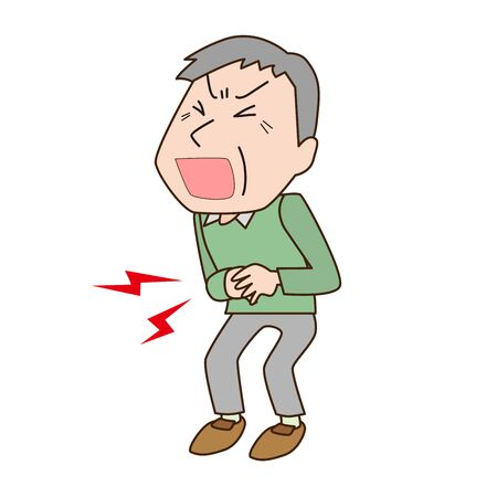 Illustration of a grandfather with a stomachache