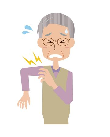 Illustration of an elderly man with severe stiff shoulders