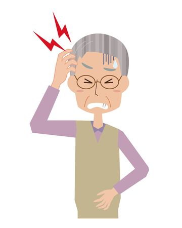 Illustration of an elderly man with a headache Illustration