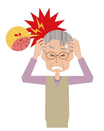 Illustration of an elderly man bleeding in the brain