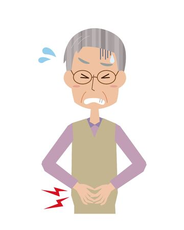 Illustration of an elderly man with a stomachache