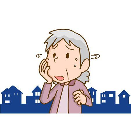 Illustration of an elderly woman wandering with dementia Vector Illustratie