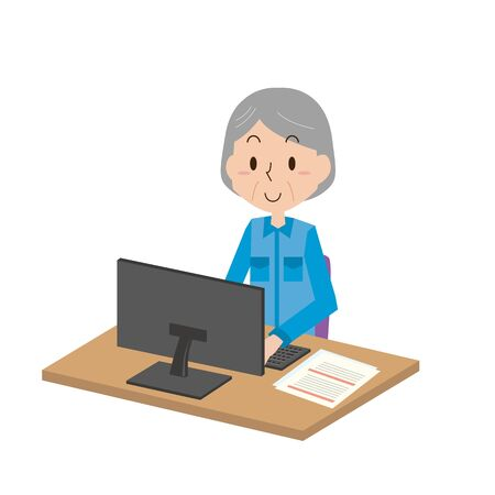 Illustration of an elderly woman doing office work in a work clothes