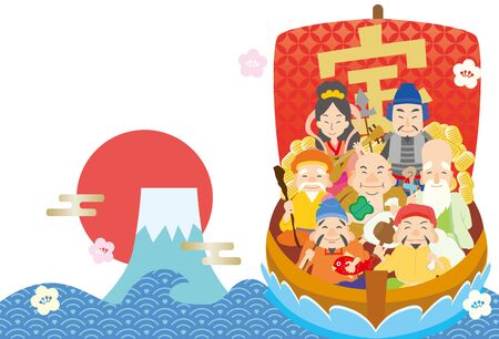 Illustration of The Lucky Charm Seven Lucky Gods of Japan