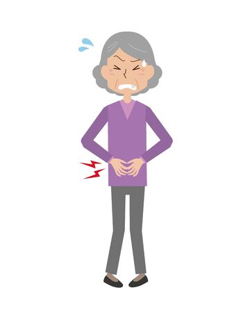 An old woman with a stomachache