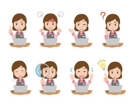 Expression illustration set of female company employee