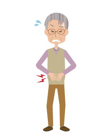 An old man with a stomachache.