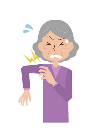 an old woman with a sore shoulder