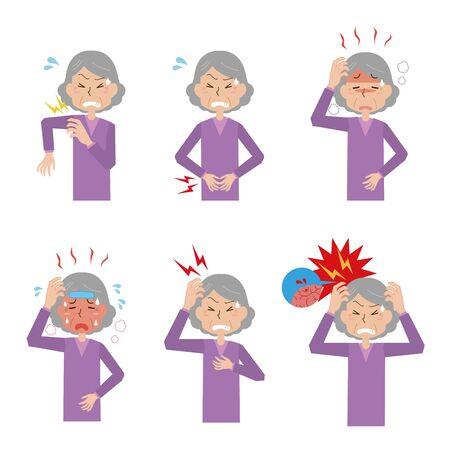 Grandmother's Upset Illustration Set Ilustrace