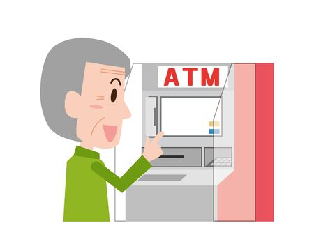 An old man who uses a cash machine Vectores