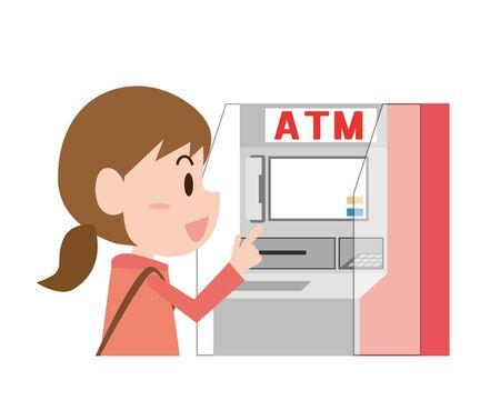 Women using cash machines