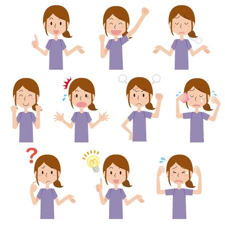 Active Women's Facial Expression Shown Vettoriali