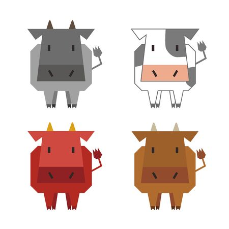 Illustration of four kinds of cows
