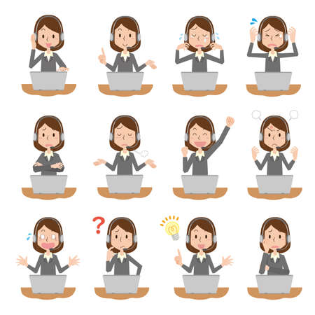 Facial expression illustration set of female employees of the call center