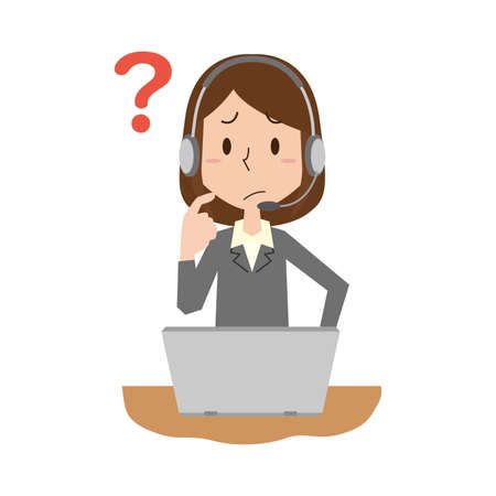 Female employees in call centers with questions