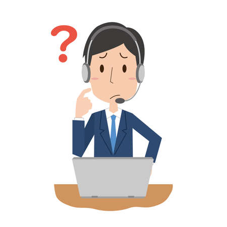 A male employee in a call center with questions