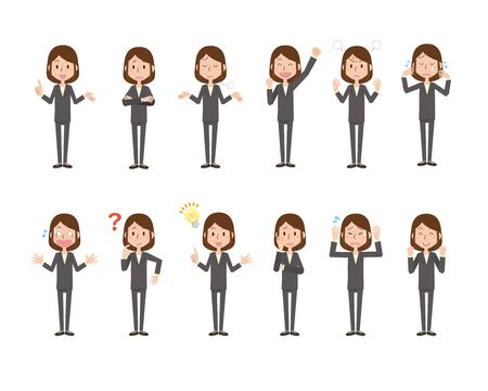 Women's Facial Expression Shown Illustrations Set Vectores