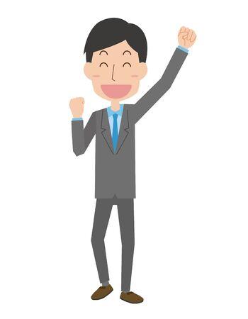 A male company employee who makes a guts pose