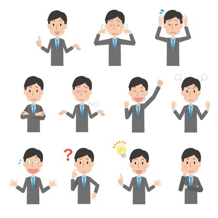 Expression illustration set of male company employee Vectores