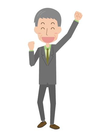 Senior men in guts pose  イラスト・ベクター素材