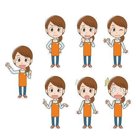 Apron Woman's Facial Expression Illustration Set