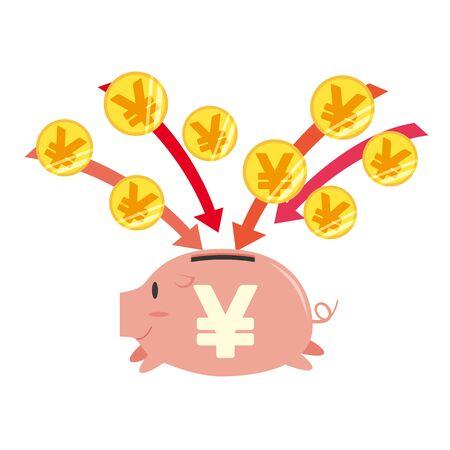 Image illustration of a piggy bank where money is saved Vektorgrafik