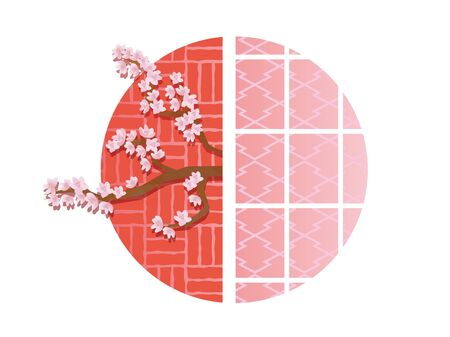 Illustration of cherry blossoms and shoji with the image of Japan Illustration