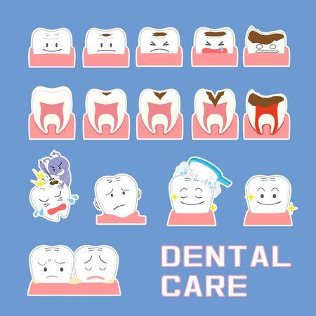 Illustration set of dental condition