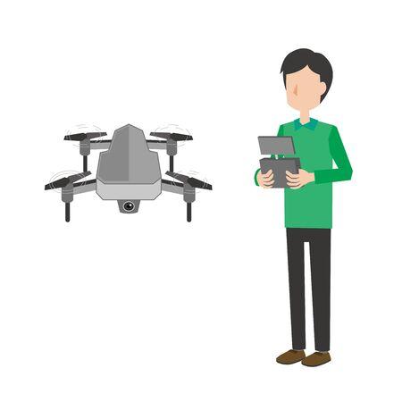 Man operating drone