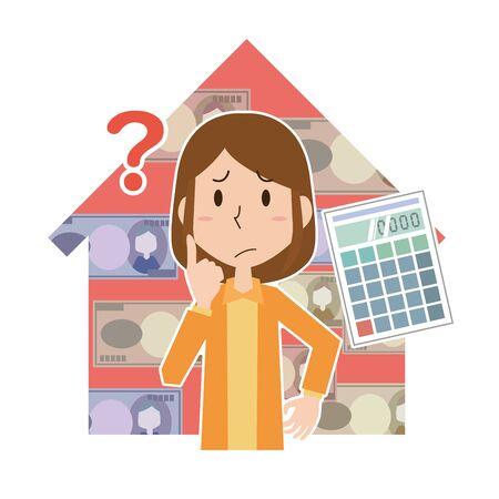 Women Thinking About Housing Funding Ilustrace