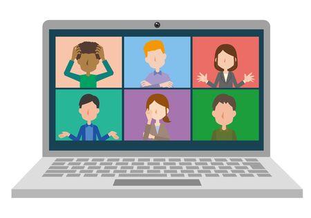 Image illustrations of online meetings Vektorové ilustrace