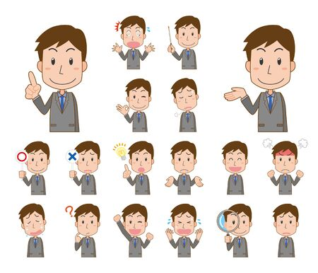 Expression illustration set of male company employee